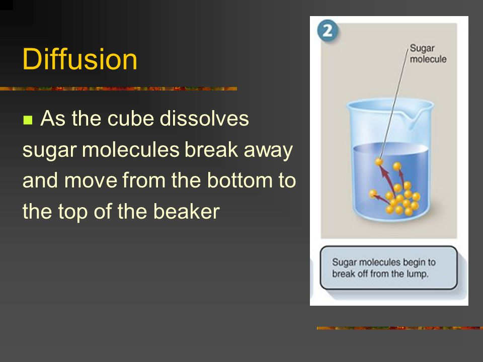 Diffusion As the cube dissolves sugar molecules break away