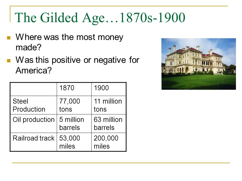 The Gilded Age…1870s-1900 Where was the most money made