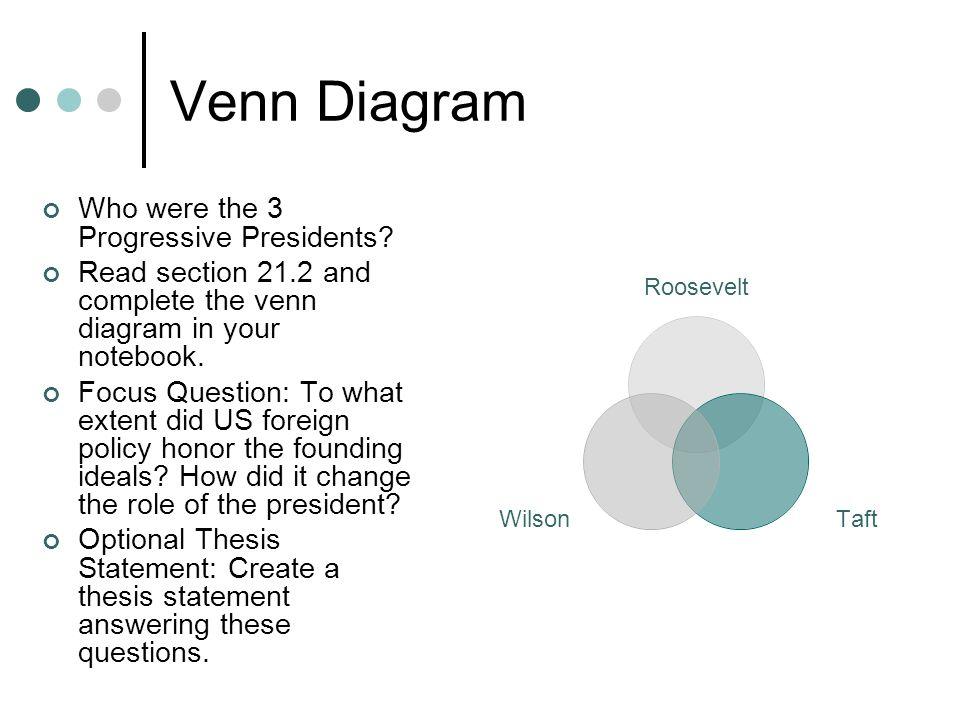 Venn Diagram Who were the 3 Progressive Presidents