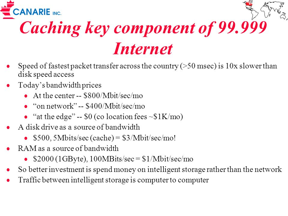 Caching key component of 99.999 Internet