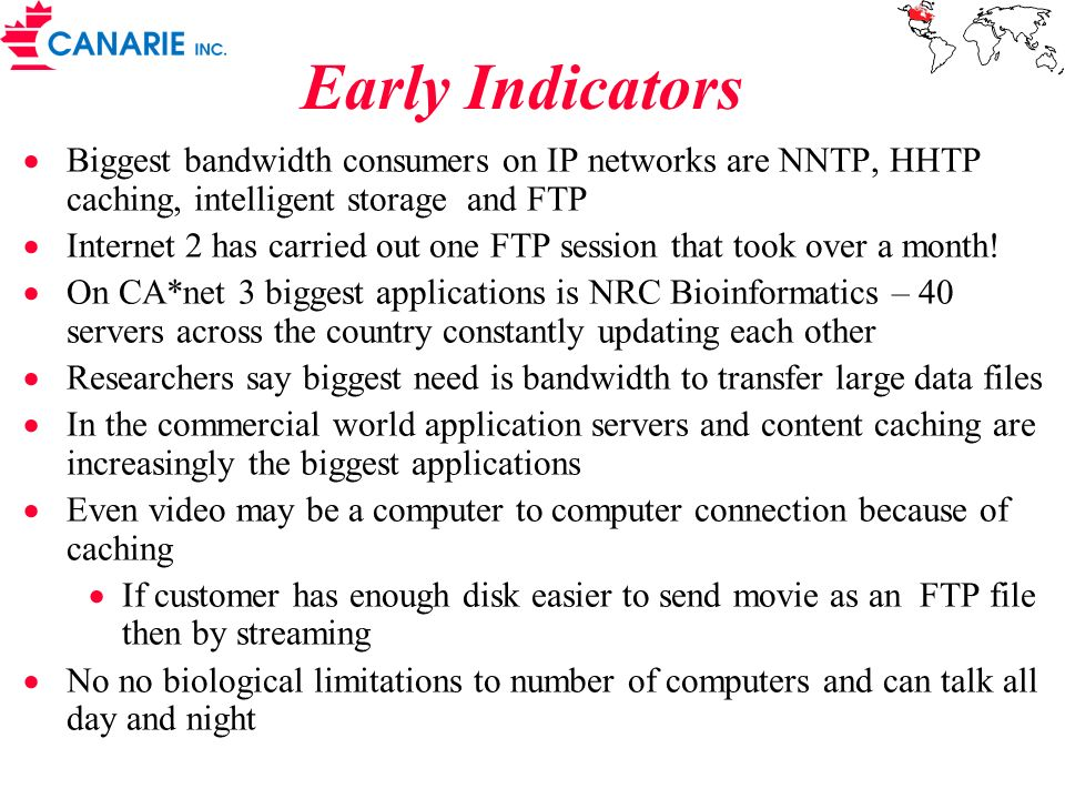 Early Indicators Biggest bandwidth consumers on IP networks are NNTP, HHTP caching, intelligent storage and FTP.