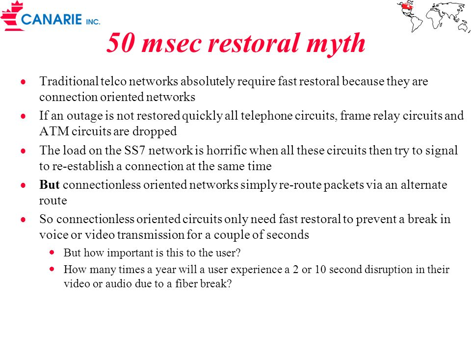 50 msec restoral myth Traditional telco networks absolutely require fast restoral because they are connection oriented networks.