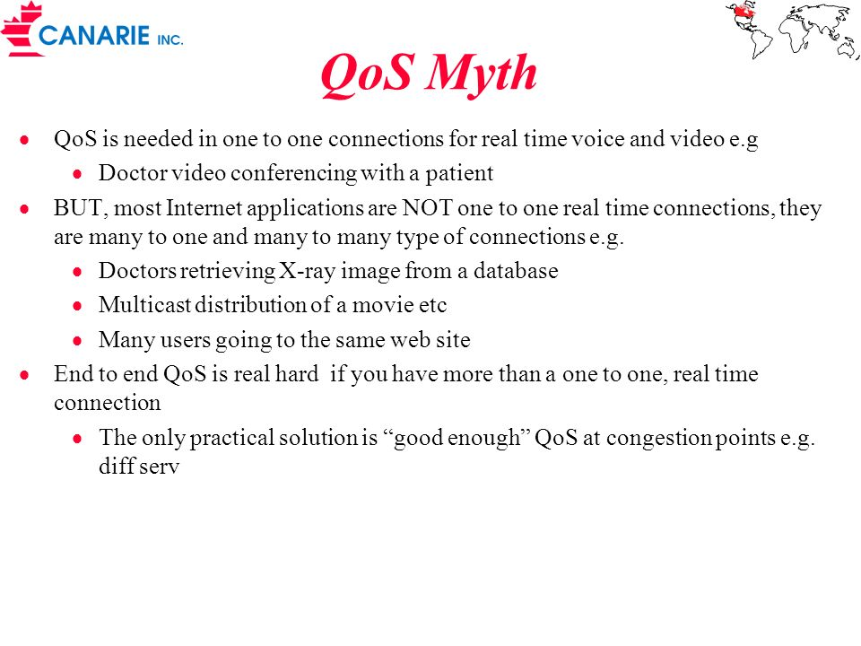QoS Myth QoS is needed in one to one connections for real time voice and video e.g. Doctor video conferencing with a patient.