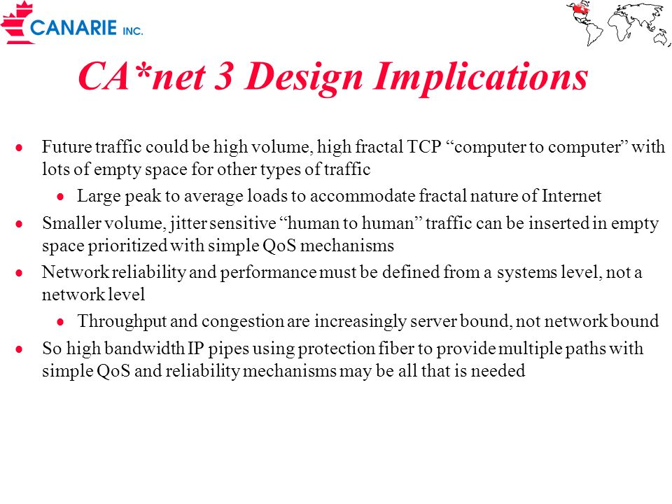 CA*net 3 Design Implications