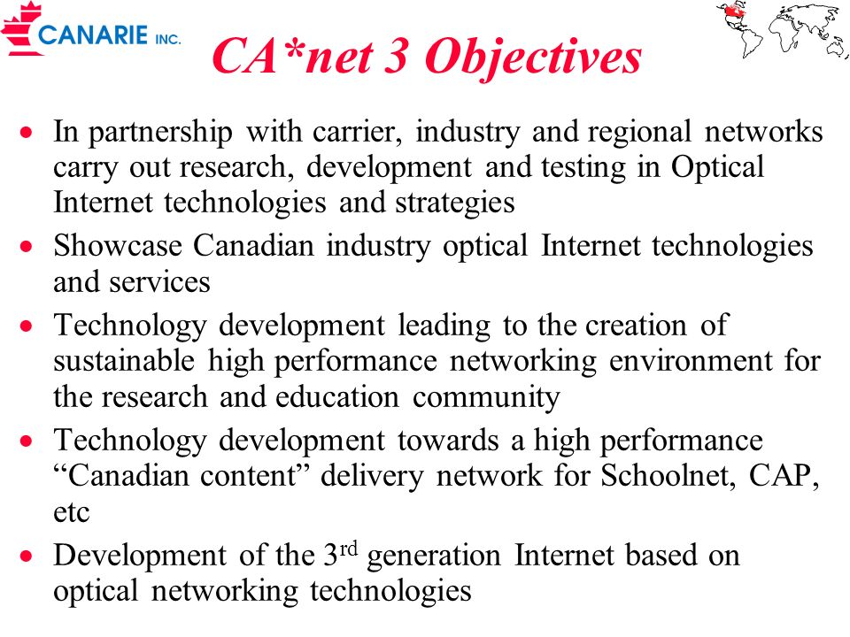 CA*net 3 Objectives