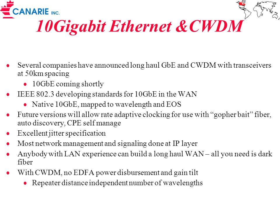 10Gigabit Ethernet &CWDM
