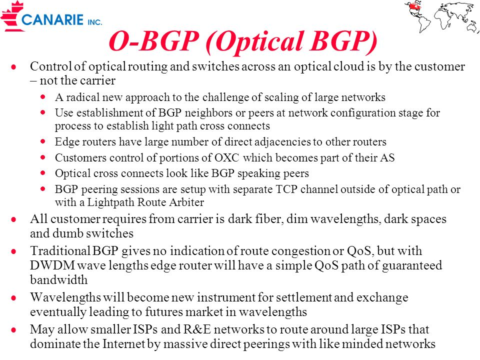 O-BGP (Optical BGP) Control of optical routing and switches across an optical cloud is by the customer – not the carrier.