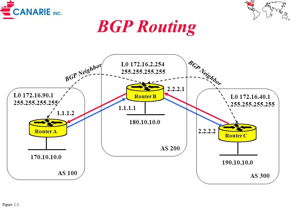 BGP Routing L0 172.16.2.254 BGP Neighbor 255.255.255.255 BGP Neighbor