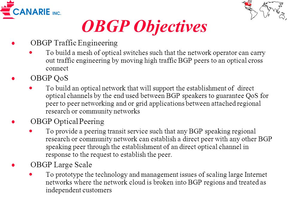 OBGP Objectives OBGP Traffic Engineering OBGP QoS OBGP Optical Peering
