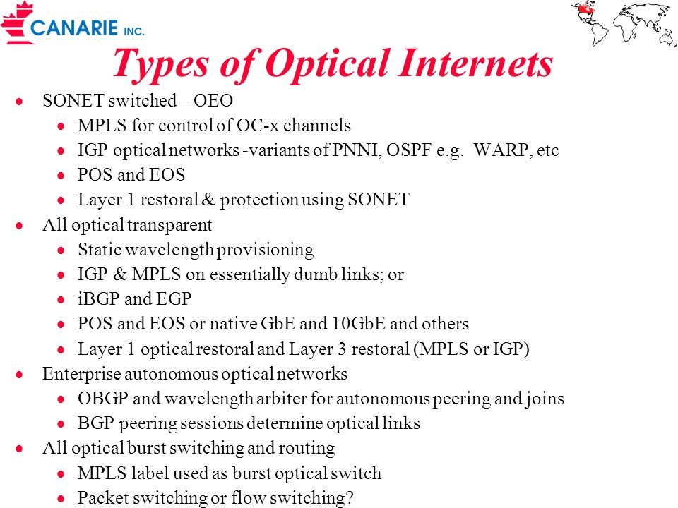 Types of Optical Internets