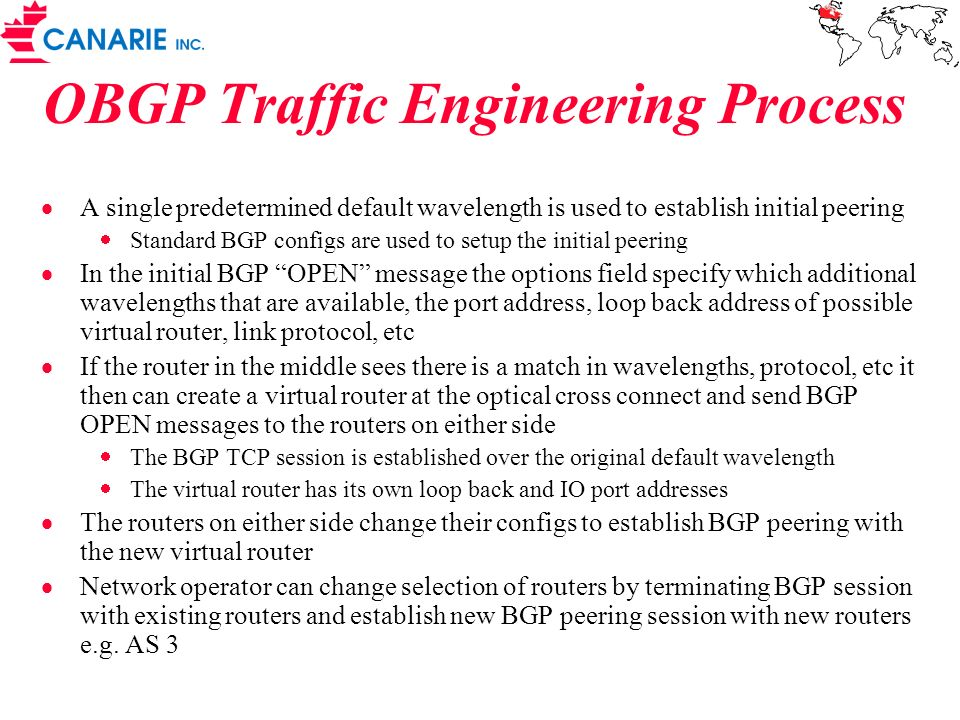 OBGP Traffic Engineering Process