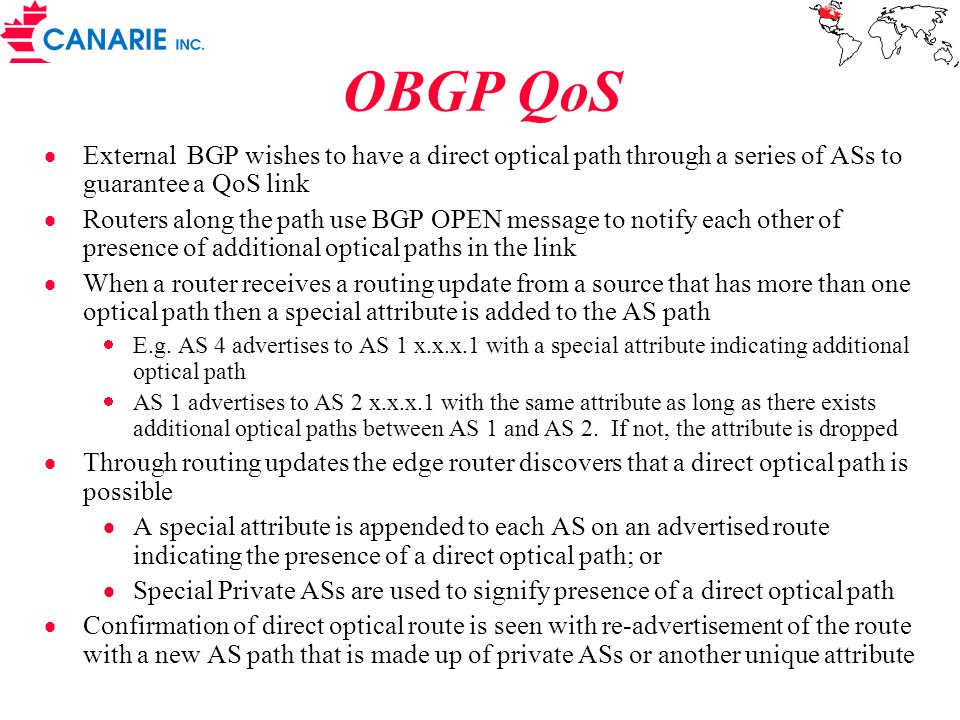 OBGP QoS External BGP wishes to have a direct optical path through a series of ASs to guarantee a QoS link.
