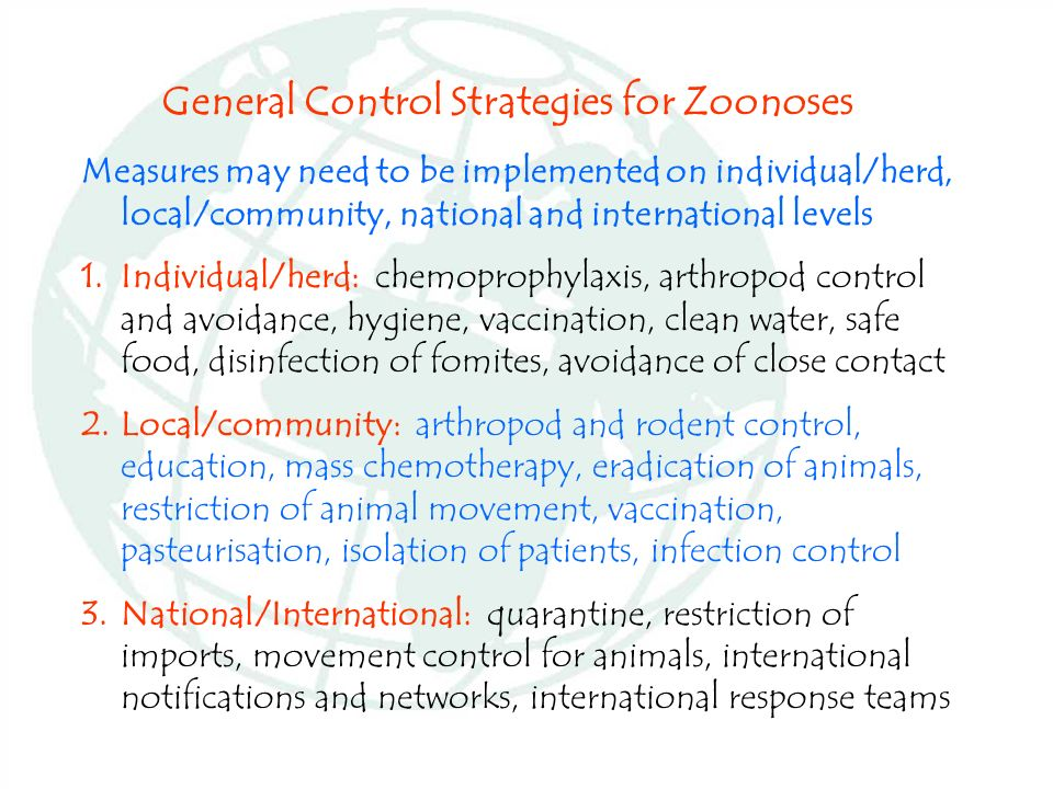 General Control Strategies for Zoonoses
