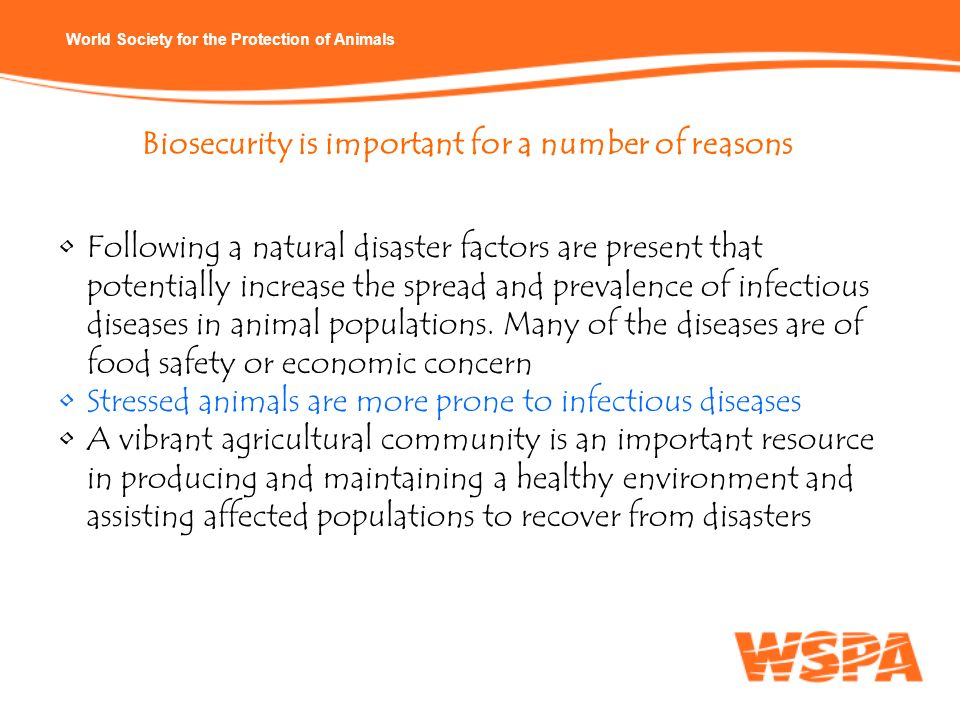 Biosecurity is important for a number of reasons