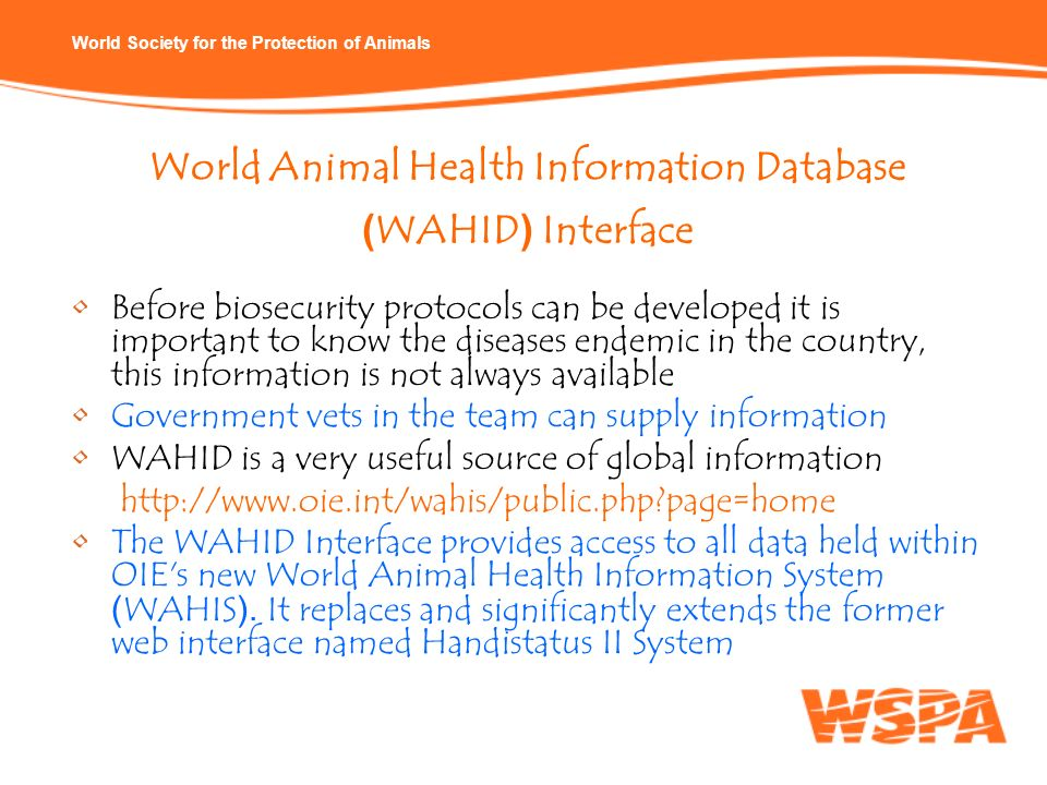 World Animal Health Information Database (WAHID) Interface