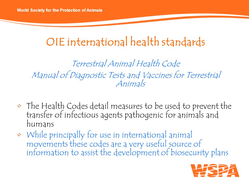 OIE international health standards