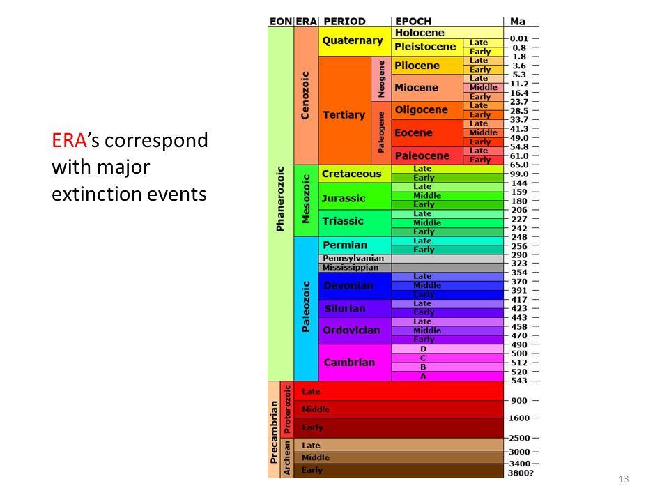 ERA's correspond with major extinction events