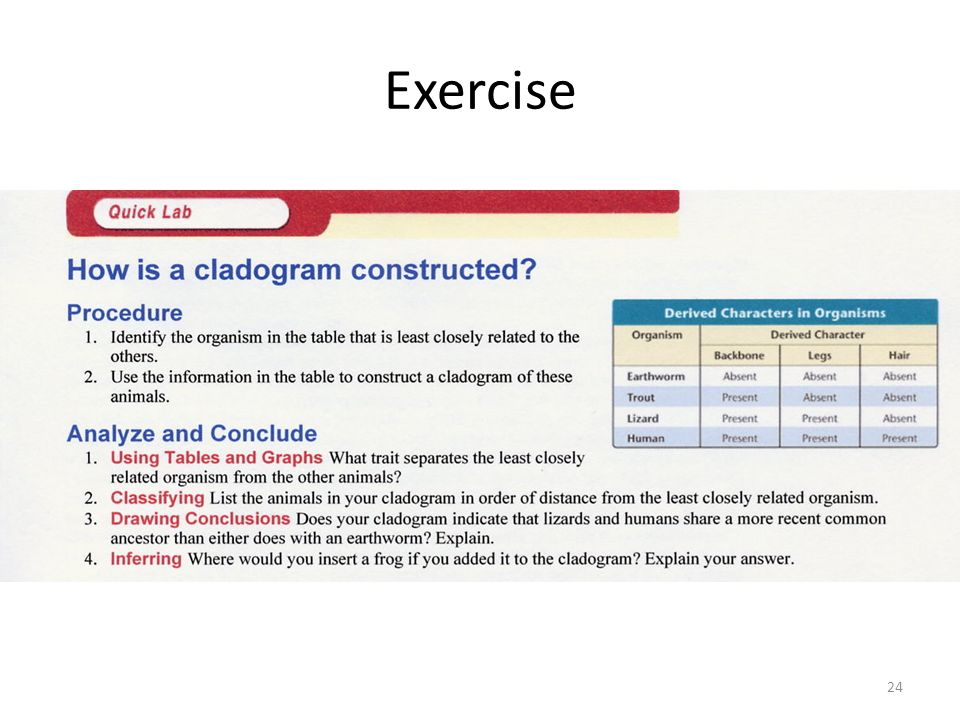 Exercise Be able to construct & read a cladogram.