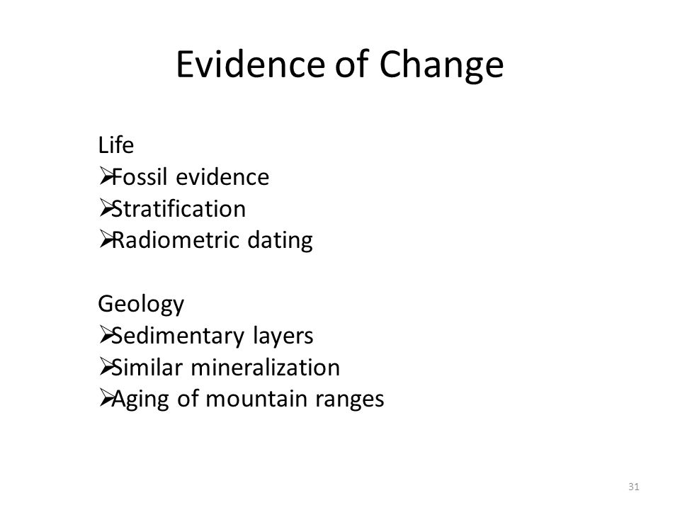 Evidence of Change Life Fossil evidence Stratification