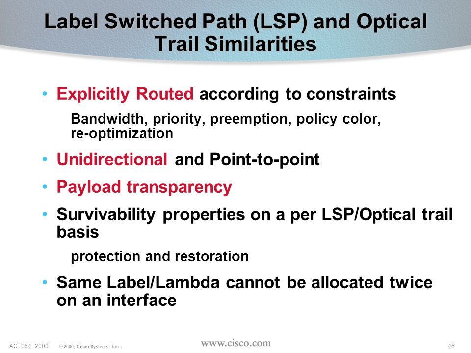 Label Switched Path (LSP) and Optical Trail Similarities
