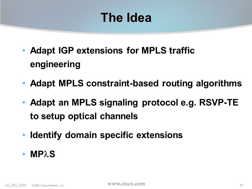 The Idea Adapt IGP extensions for MPLS traffic engineering
