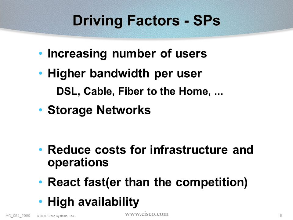 Driving Factors - SPs Increasing number of users