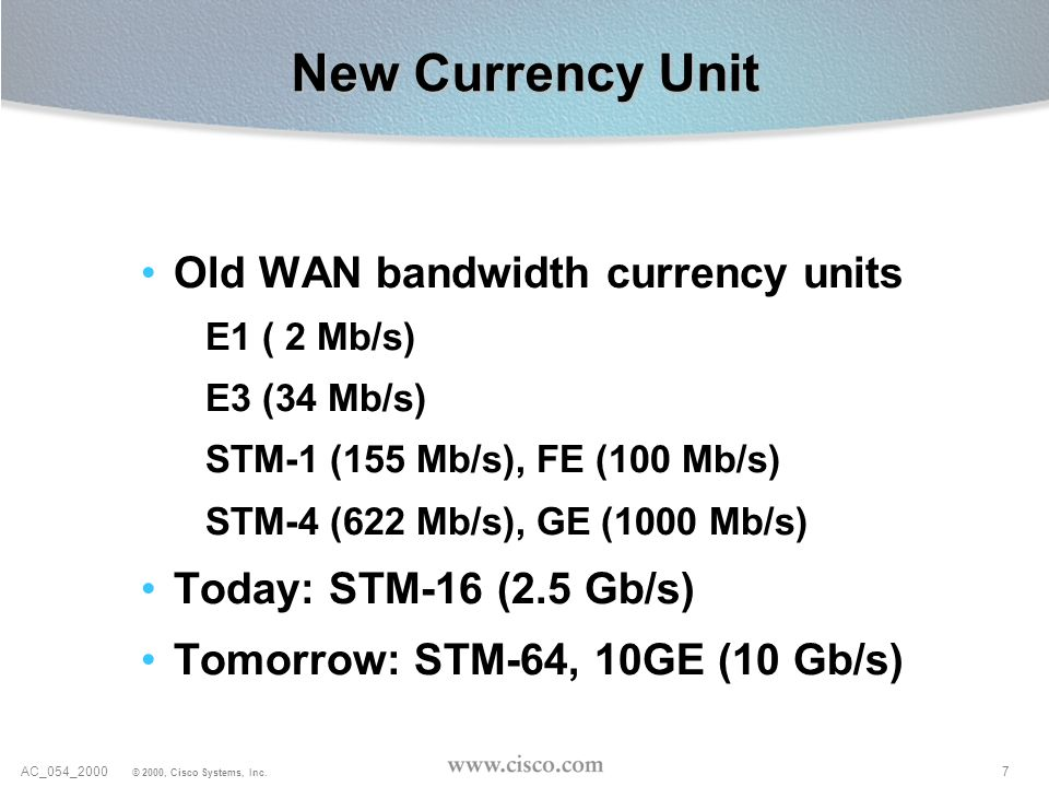 New Currency Unit Old WAN bandwidth currency units