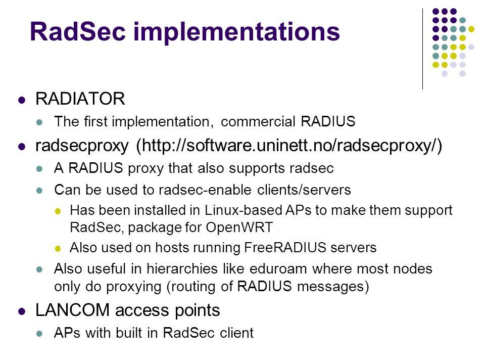 RadSec implementations