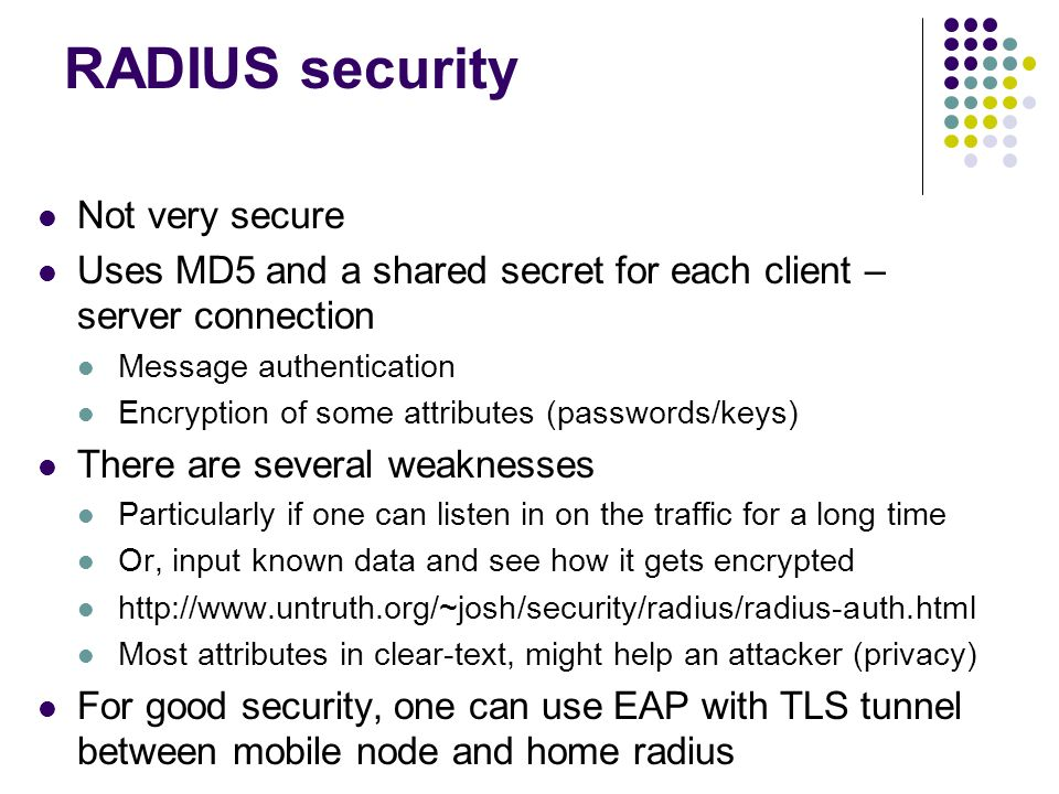RADIUS security Not very secure