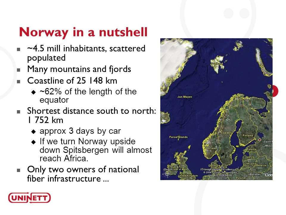 Norway in a nutshell ~4.5 mill inhabitants, scattered populated