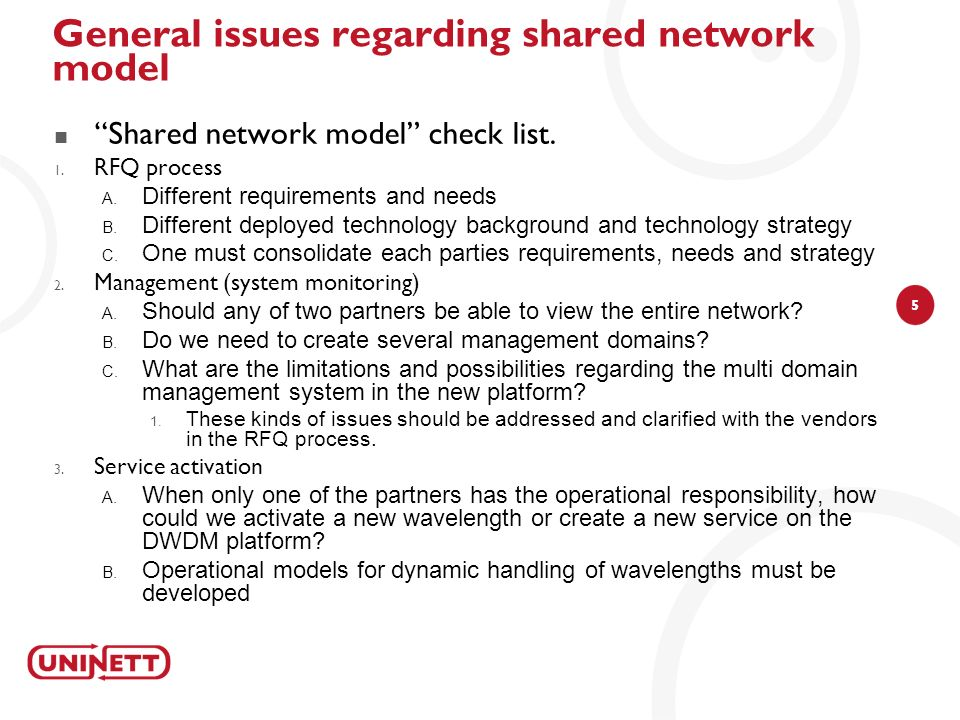 General issues regarding shared network model