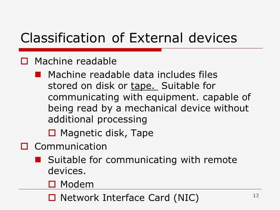 Classification of External devices