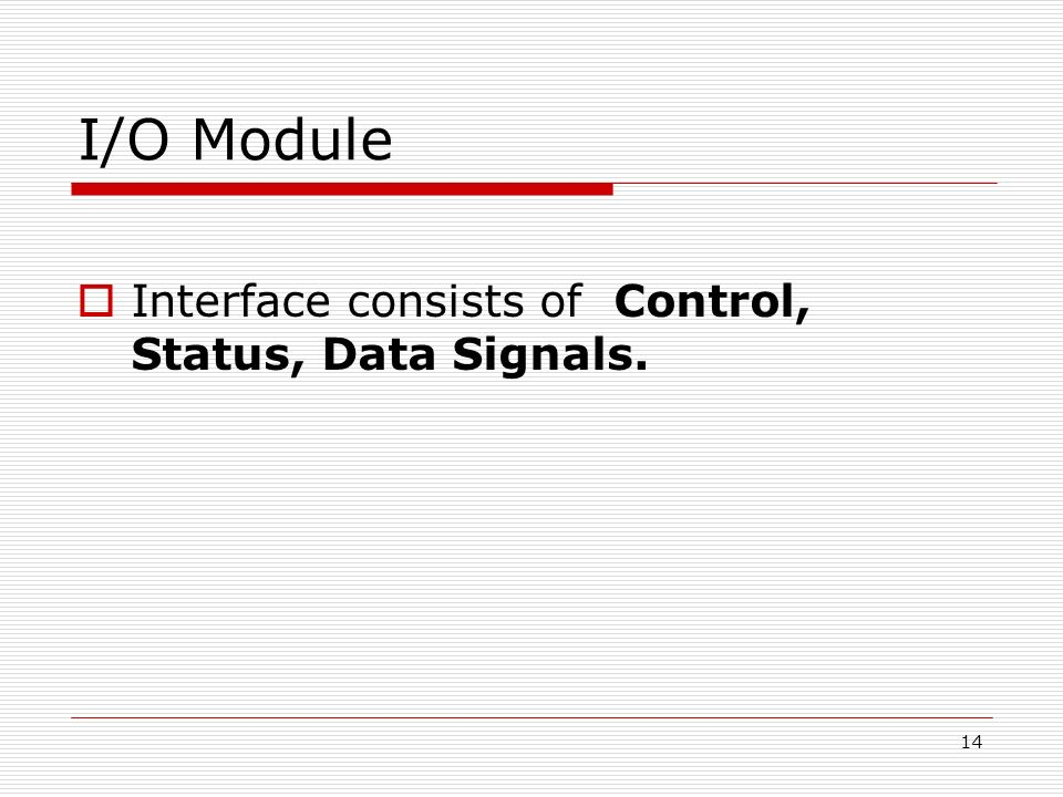 I/O Module Interface consists of Control, Status, Data Signals.
