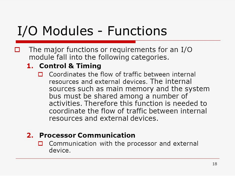I/O Modules - Functions