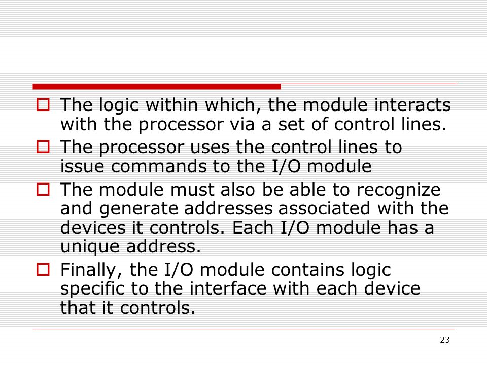 The logic within which, the module interacts with the processor via a set of control lines.