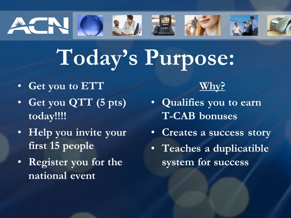 Today's Purpose: Get you to ETT Get you QTT (5 pts) today!!!!