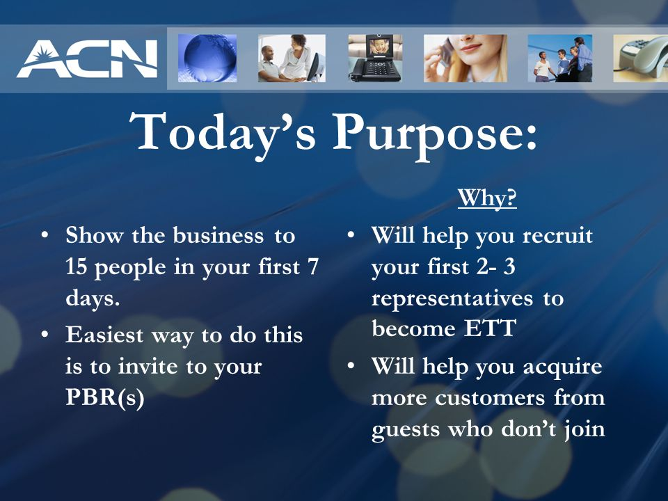 Today's Purpose: Show the business to 15 people in your first 7 days.