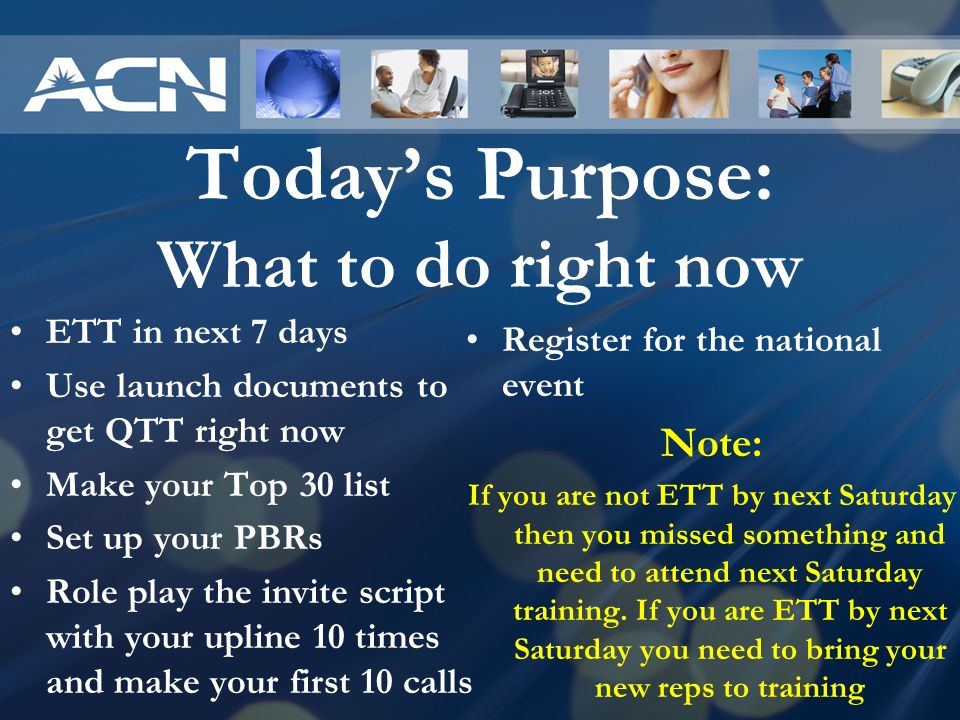 Today's Purpose: What to do right now