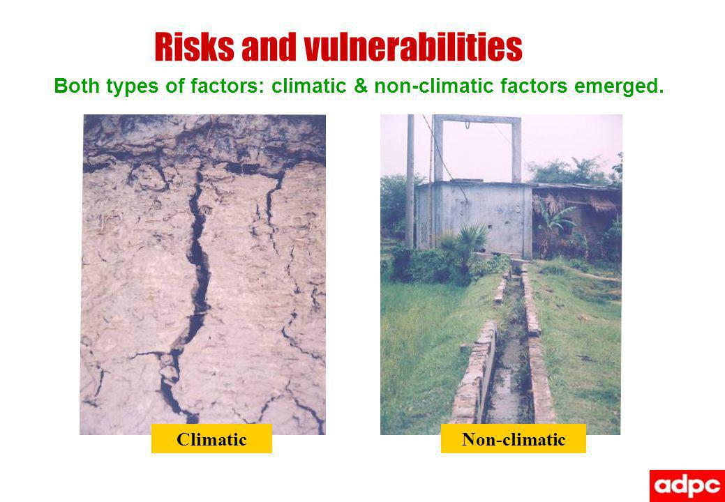 Risks and vulnerabilities Both types of factors: climatic & non-climatic factors emerged.