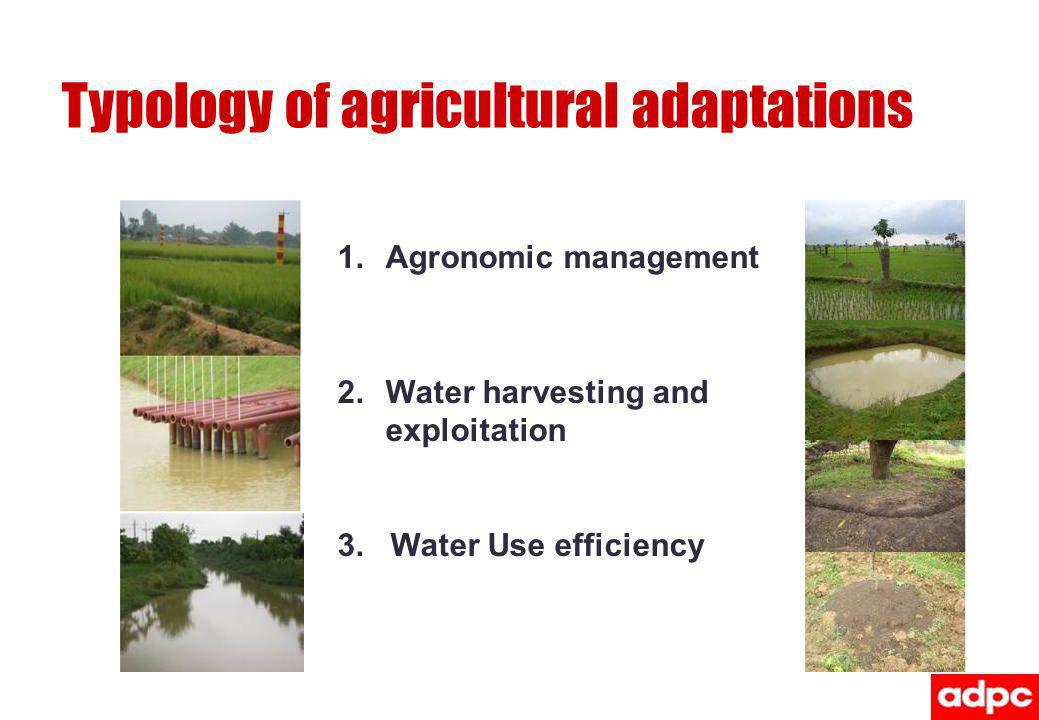 Typology of agricultural adaptations