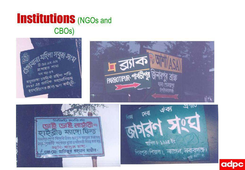 Institutions (NGOs and CBOs)