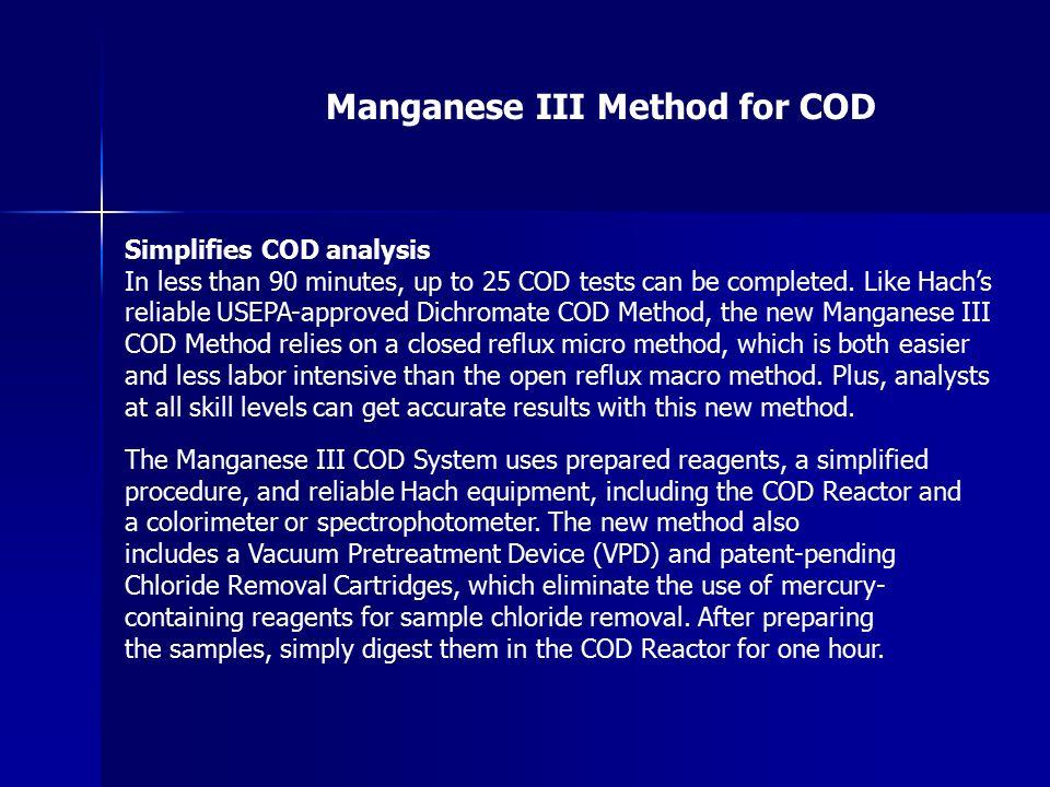 Manganese III Method for COD