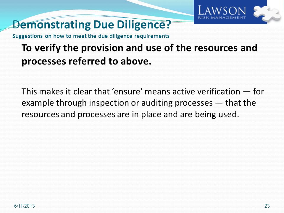 Demonstrating Due Diligence