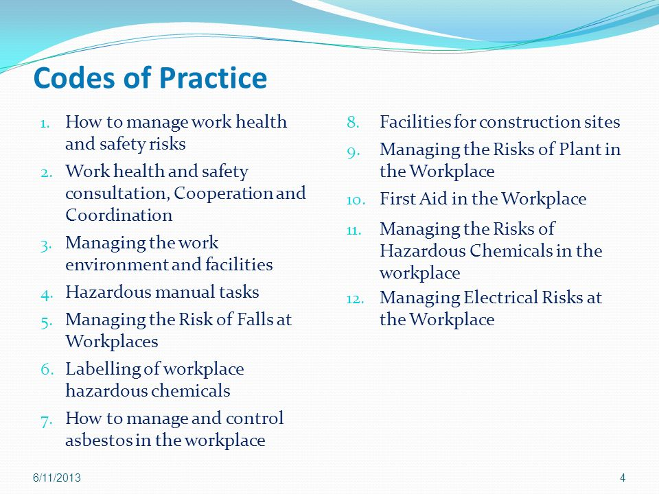 Codes of Practice How to manage work health and safety risks