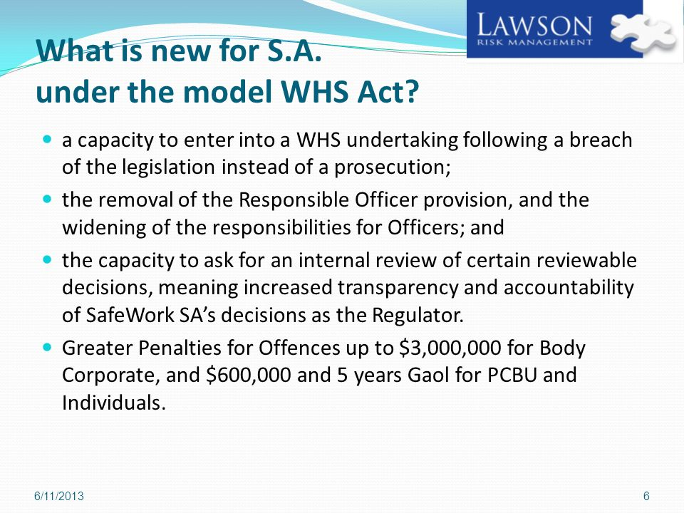 What is new for S.A. under the model WHS Act