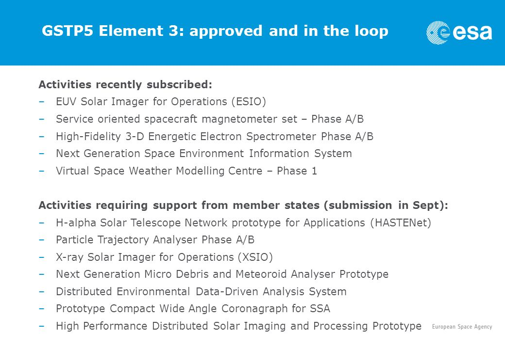 GSTP5 Element 3: approved and in the loop