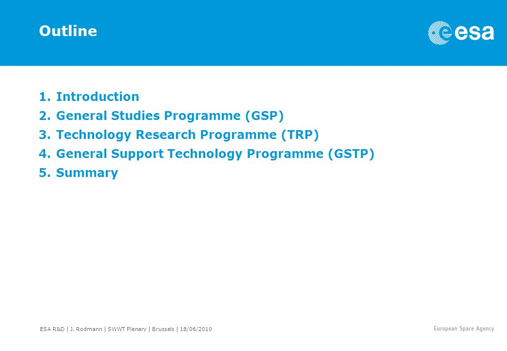 Outline Introduction General Studies Programme (GSP)