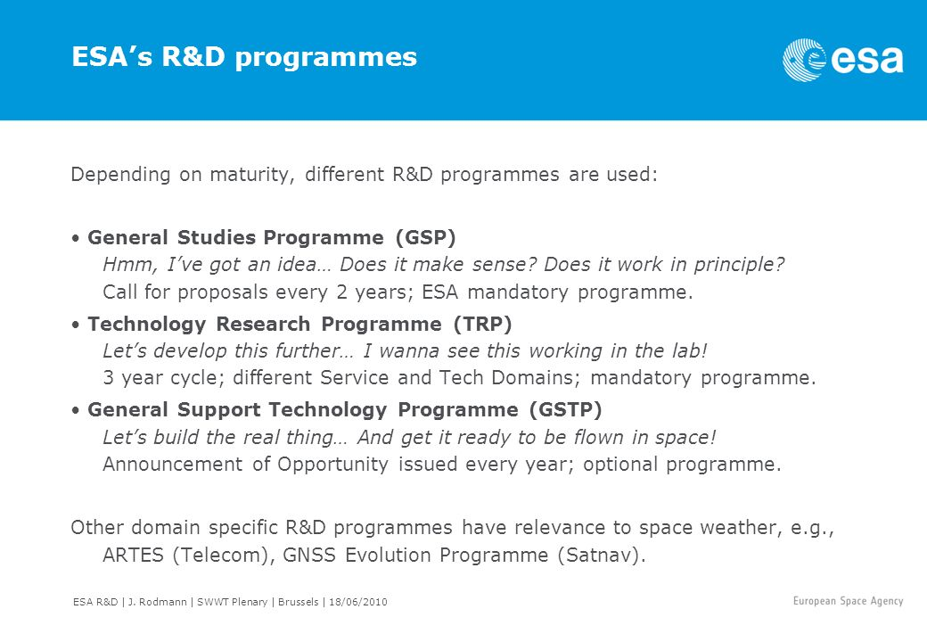 ESA's R&D programmes Depending on maturity, different R&D programmes are used:
