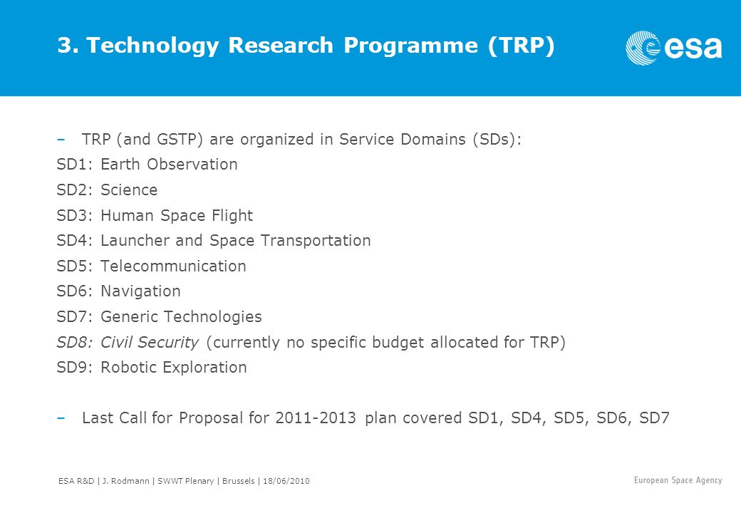 3. Technology Research Programme (TRP)