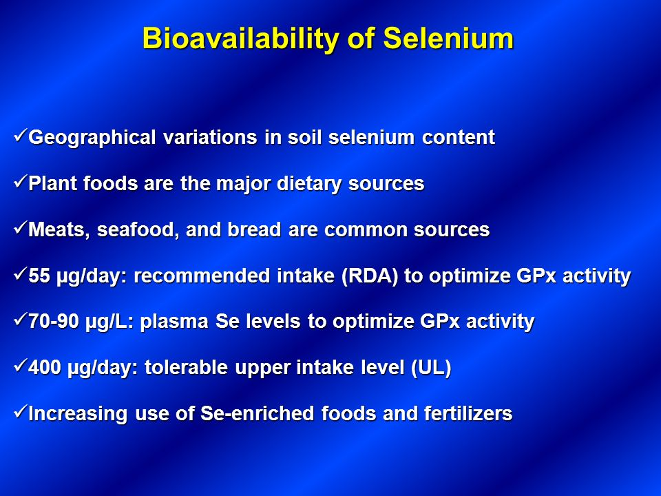 Bioavailability of Selenium